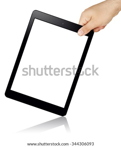 hand holding slanted black tablet pc with blank white screen isolated - stock photo