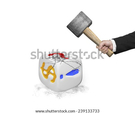hand holding sledgehammer hitting white dice with dollar sign isolated on white - stock photo
