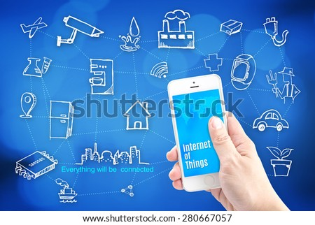 Hand holding smart phone with Internet of things (IoT) word and object icon and blur background, Network Technology concept.. - stock photo