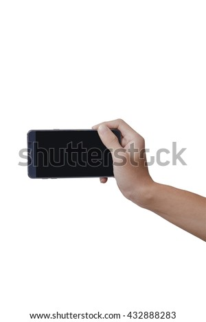 Hand holding smart-phone with isolate on white background. - stock photo