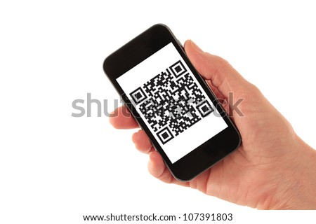 Hand Holding Smart Phone with QR Code Barcode (QR Code is fictitious � created by photographer) isolated on white - stock photo