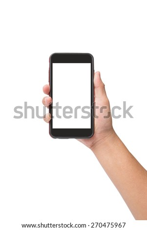 Hand holding smart phone with touchscreen isolated on white background - stock photo