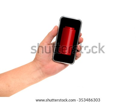 Hand holding Smartphone for lookig battery status isolated on white - stock photo