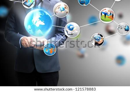 hand holding social media - stock photo