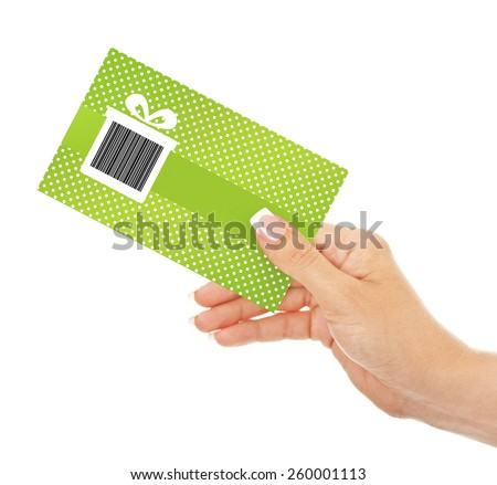 hand holding spring discount coupon isolated over white background - stock photo