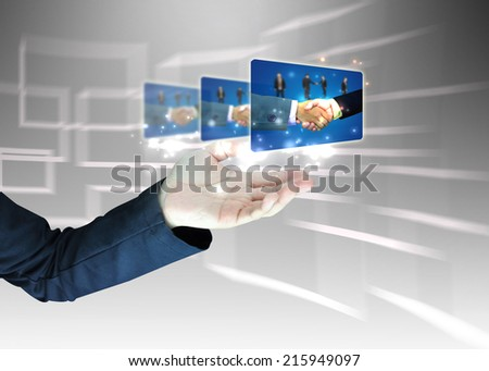 hand holding successful business. - stock photo