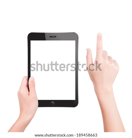 Hand holding tablet pc with touching hand - stock photo