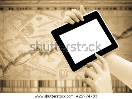 hand holding tablet with blur image of graph stock market background - stock photo