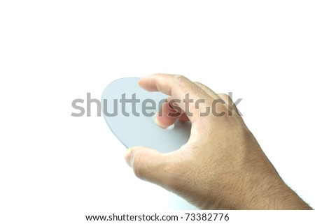 Hand holding the digital Video Disc. - stock photo