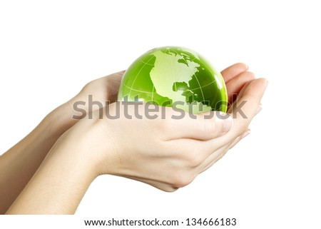 Hand holding the Earth isolated America - stock photo