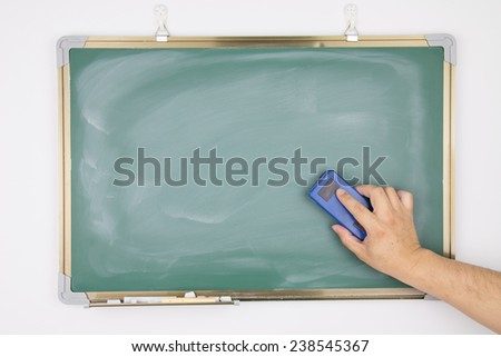 Hand holding the eraser to clean the blackboard - stock photo