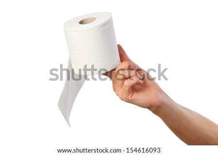 Hand holding toilet paper. isolated on white - stock photo