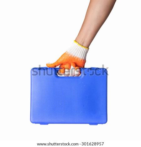 Hand holding tool box Isolated on White Background - stock photo