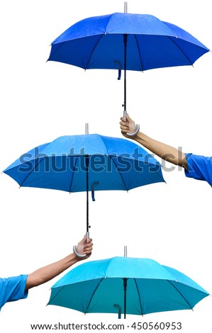 Hand holding umbrella to protect rain 3 Steps, Protection Concepts, Umbrella third floor, The umbrellas over umbrella, different color. - stock photo