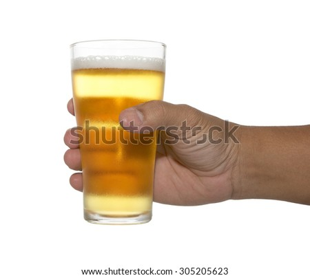 hand holding up a glass of beer over a white background. Variety of beer glass, cheers. - stock photo