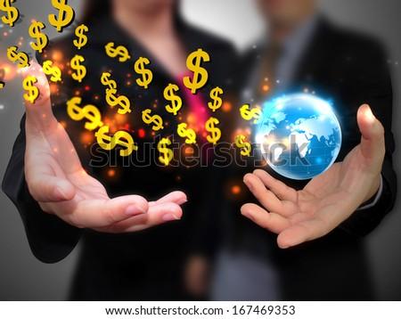 hand holding US dollar  - stock photo