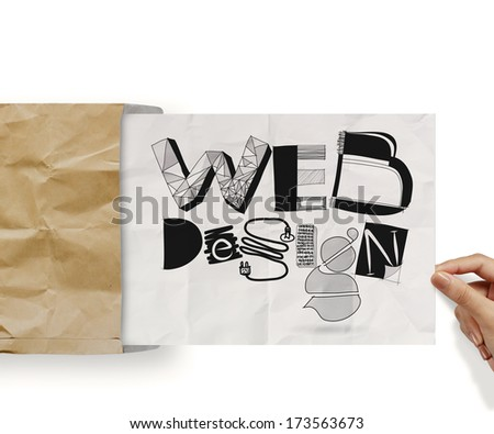 hand holding web design handdrawn icons on paper background poster as concept - stock photo