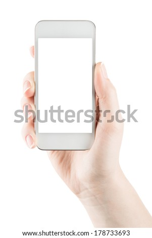 Hand holding white smartphone alike iphone gadget with blank screen - stock photo