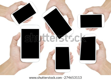 Hand holding White Smartphone with blank screen on  white background - stock photo