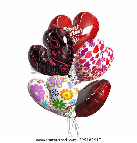 Hand holds colorful balloons isolated on white. 3d illustration - stock photo