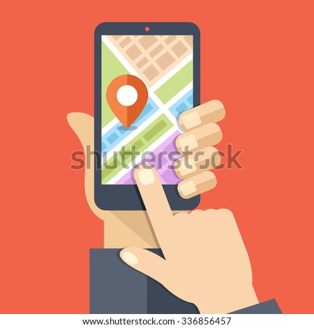 Hand holds smartphone with city map gps navigator on smartphone screen. Mobile navigation concept. Modern simple flat design for web banners, web sites, infographics. Creative flat illustration - stock photo
