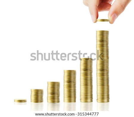 Hand human hand putting coin to money, business ideas - stock photo