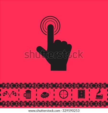 Hand icon pointer - click. Black flat illustration pictogram and bonus icon - Racing flag, Beer mug, Ufo fly, Sniper sight, Safe, Train on pink background - stock photo