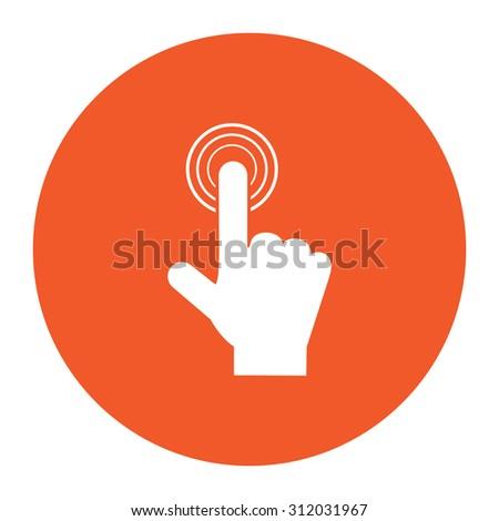 Hand icon pointer - click. Simple flat white icon in the orange circle. illustration symbol - stock photo