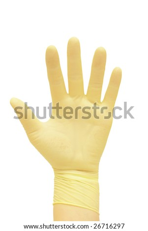 Hand in a glove. - stock photo