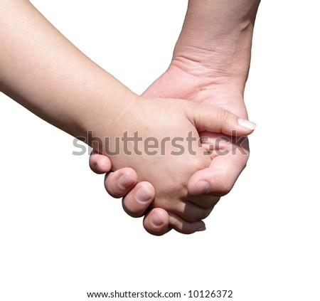 Hand in a hand - stock photo