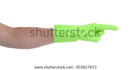 Hand in an cleaning glove making a directional sign on white background - stock photo