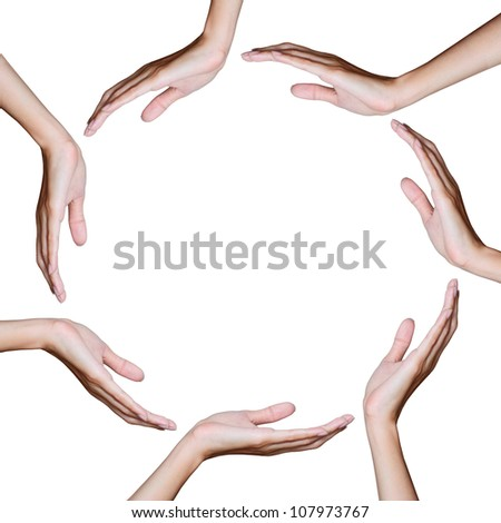 hand in circle position. - stock photo
