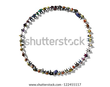 Hand in hand, human chain forms a circle - stock photo