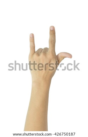 Hand in I love you,Love hand sign,hand language, Isolated on white - stock photo