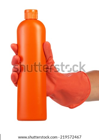 Hand in latex glove with cleaning product on white background - stock photo