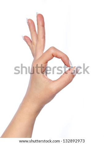hand in ok sign on a white isolated background - stock photo