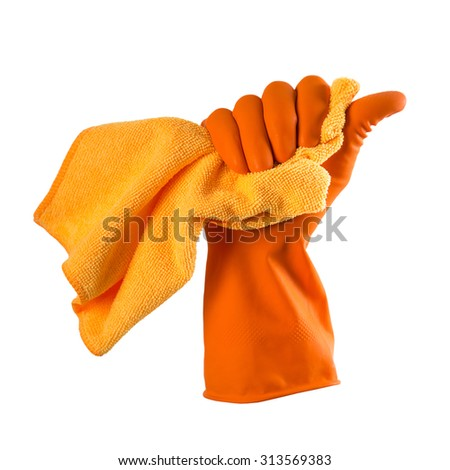 Hand in orange rubber glove holds a orange rag - house cleaning concept, isolated over white - stock photo