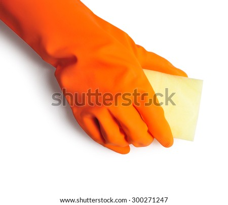 Hand in orange rubber glove with sponge isolated on white background. cleaning - stock photo