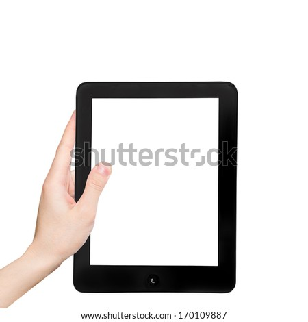 Hand in  the tablet PC, isolated on white background. - stock photo