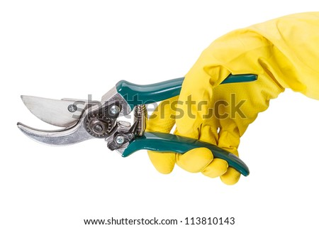 Hand in yellow gloves with pruning shears. isolated on white background - stock photo
