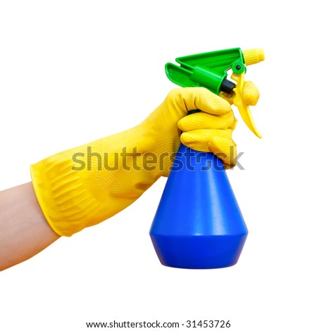 Hand in yellow protective glove holding blue spray bottle on white background - stock photo