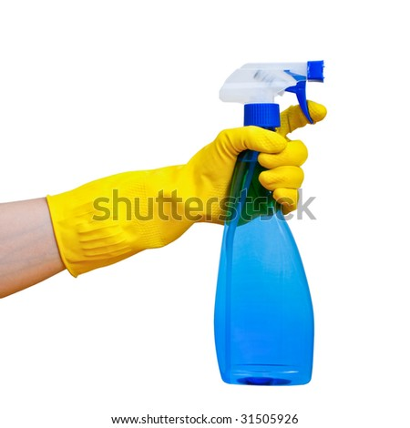 Hand in yellow protective glove holding blue transparent spray bottle on white background - stock photo