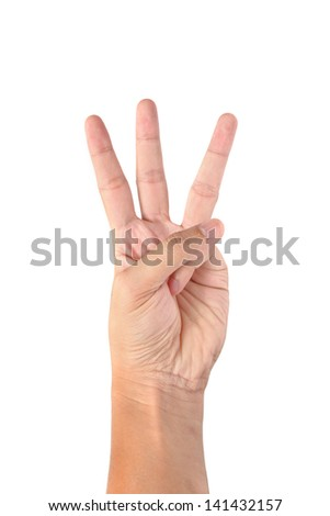 hand is showing three fingers isolated on white background - stock photo
