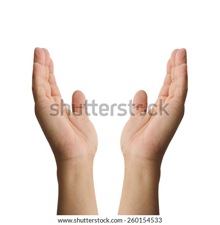 hand isolated pray paris with path focus on thumb - stock photo