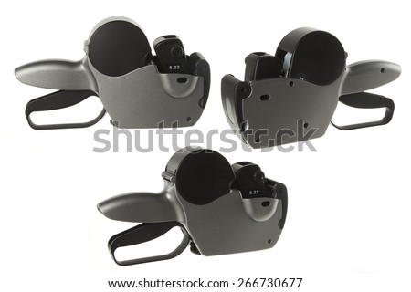 hand labeler isolated on white - stock photo
