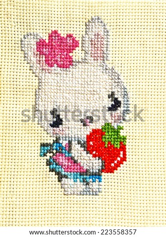 Hand Made Embroidery And Cross-Stitch Rabbit Design, The Handicrafts Of Decorative Sewing And Textile Art - stock photo