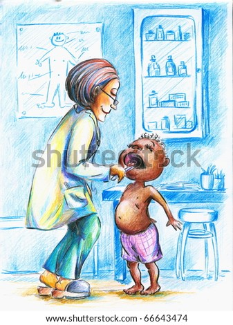 Hand made illustration of female  doctor checking little African boy's throat.Picture I have created with colored pencils. - stock photo