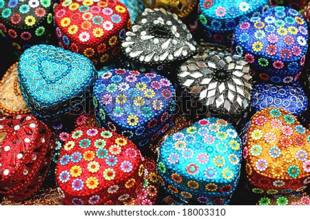 hand made jewellery box in vibrant colors - stock photo