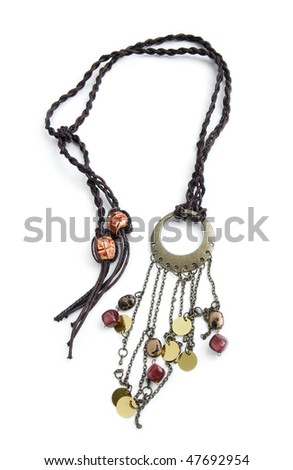 Hand-made necklace isolated on white background - stock photo