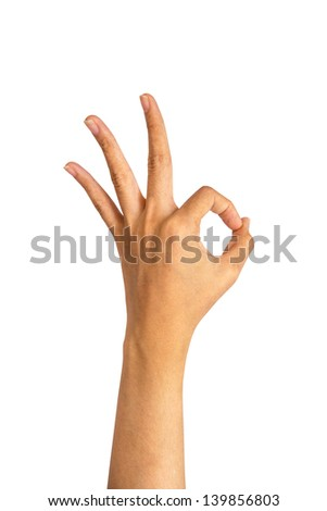 hand made O.K. on isolate background - stock photo